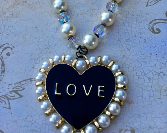 Handmade Vintage Swarovski Crystal Love Necklace for Women, Unique Necklace, Estate Jewelry, Swarovski Necklace, Old Hollywood