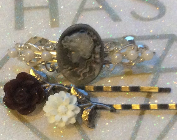 Bath and Beauty, Barrettes and Clips, Accessories, Hair Accessories, Hair Barrette, Rose Clip, Swarovski Crystal Barrette, Hair Barrette