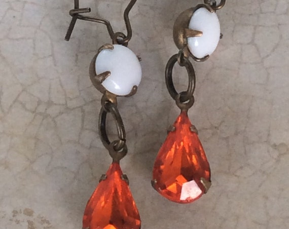 Vintage Earrings for Women, Dangle and Drop, Art Deco Earrings, Crystal Earrings, Orange and White Earring, Vintage Jewelry, Vintage Earring