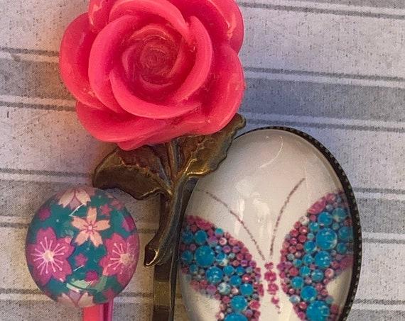 Handmade Bobby Pins Hair Accessories, Flower Bobby Pins, Hair Pins, Flower Hair Pins, Rose Bobby Pin