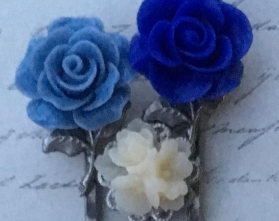 Bobby Pins, Hair Pins, Hair Clips, Hair Barrettes, Flower Bobby Pins, Flower Hair Clips, Rose Bobby Pin, Hair FOBS, Blue Rose Bobby Pins