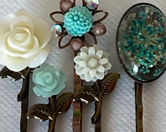 Best Hair Pins, Bobby Pins, Rose Flower Cabochon Hair Bobby Pins