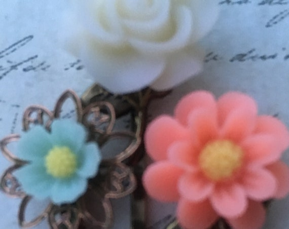 Bath and Beauty, Bobby Pins, Hair Pins, Hair Clips, Flower Bobby Pin, Flower Hair Clips, Rose Bobby Pin, Hair FOBS, Wedding Hair Accessories