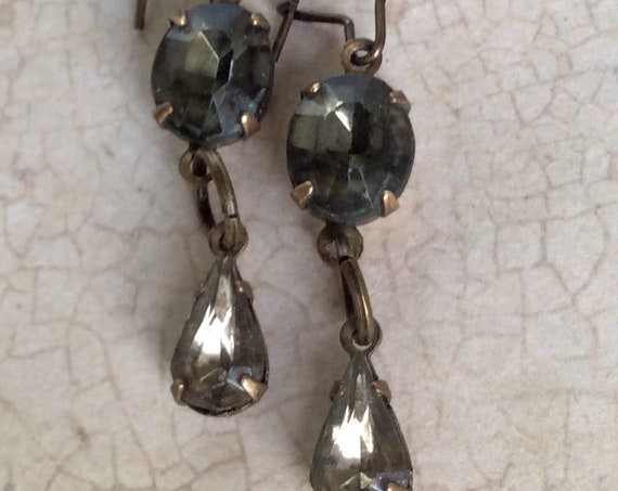 Earrings for Women, Dangle and Drop, Art Deco Earrings, Crystal Earrings, Black and Charcoal Earring, Vintage Jewelry