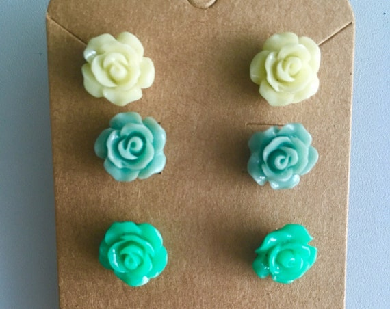 Rose Earrings, Flower Earrings, Earrings for Women, Cabochon Earrings, Post Earrings, Green Rose Earrings, Yellow Rose Earrings, Mint Rose