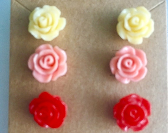 Rose Earrings, Flower Earrings, Earrings for Women, Cabochon Earrings, Post Earrings, Pink Rose Earrings, Yellow Rose Earrings, Red Rose