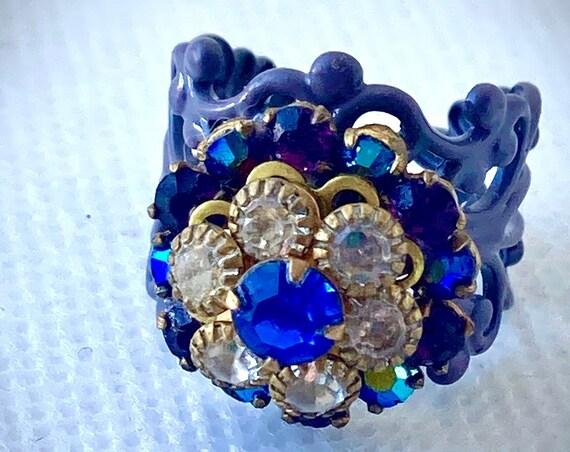 Handmade Vintage Swarovski Adjustable Flower Ring for Women