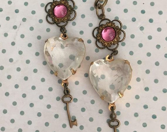 Dangle and Drop Earrings for Women, Swarovski Crystal Earrings, Vintage Earrings, Heart Earrings, Unique Earrings, Crystal Earrings, Heart