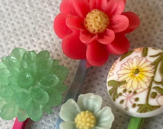 Handmade Vintage Flower Bobby Pins for Hair