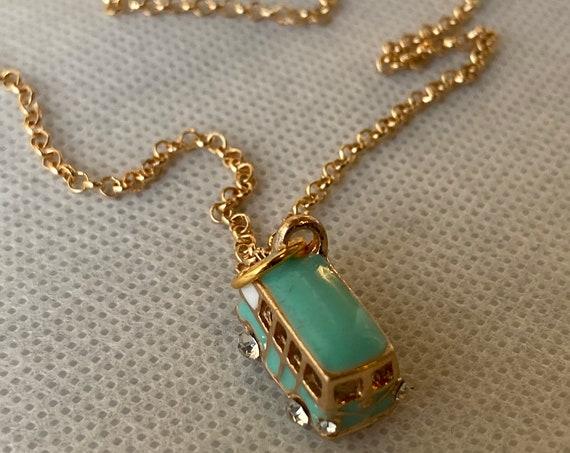Handmade VW Bus Pendant Necklace, 60's Necklace, Pendant Necklace, Retro Jewelry, Jewelry, Blue Charm Necklace