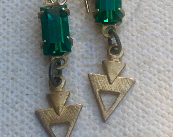 Jewelry, Earrings for Women, Dangle and Drop Earrings, Art Deco Earrings, Swarovski Earrings, Green and White Earrings, Vintage Earrings