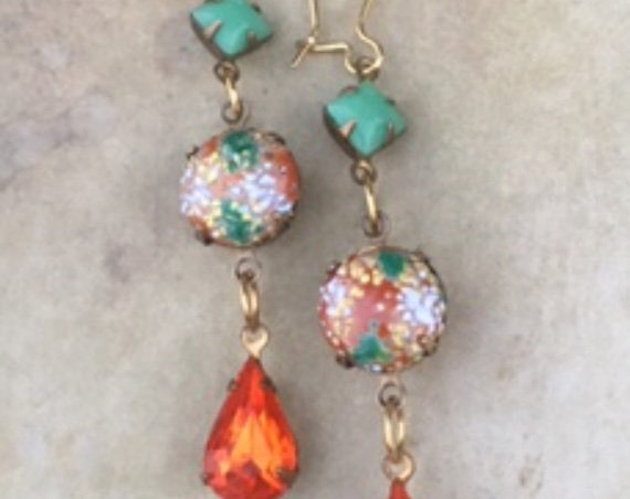 Jewelry, Dangle and Drop Earring, Earrings for Women, Vintage Earrings, Antique Jewelry, Art Deco Earrings, Orange Earring, Vintage Earrings