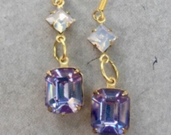 Dangle and Drop Earrings, Earrings for Women, Vintage Earrings, Antique Jewelry, Art Deco Earrings, Pink Earrings, Vintage Jewelry
