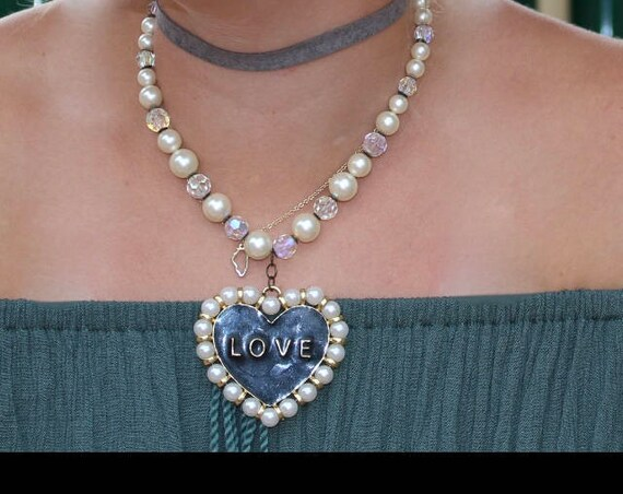 Necklace for Women, Vintage Necklace, Crystal Necklace, Love Necklace, Unique Necklace, Estate Jewelry, Swarovski Necklace, Old Hollywood