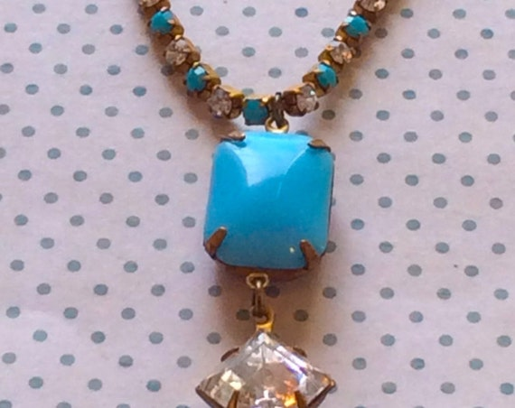 Jewelry, Necklace for Women, Crystal Necklace, Vintage Necklace, Glass Necklace, Vintage Jewelry, Swarovski Necklace, Blue Necklace, Opague