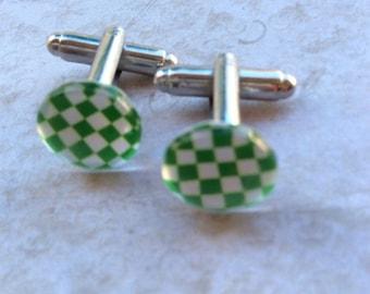 Green Checkerboard Enamel Cufflinks with Presentation Box