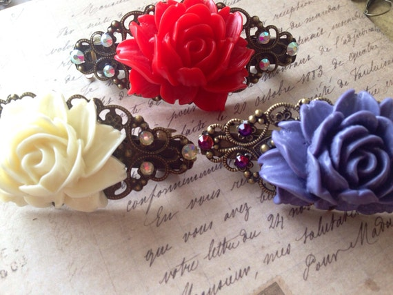 Hair Accessories, Barrettes and Clips, Bath and Beauty, Hair Barrette, Rose Clip, Crystal Barrette, Hair Barrette, Hair Care, Accessories