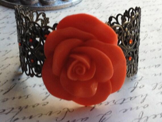 Orange Rose Bracelet Adjustable Resin Cabochon Oversized Rose with Bronze Filigree