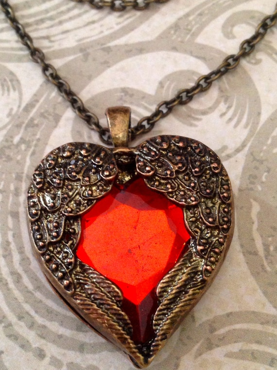 Jewelry, Necklace, Heart Necklace, Victorian Necklace, Steampunk Necklace, Romantic Necklace, Red Heart Jewelry