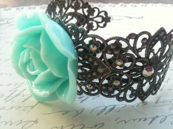 Jewelry Bracelet Cuff Turquoise Rose Cabochon Bracelet With Swarovski Crystals on Silver Filigree Cuff