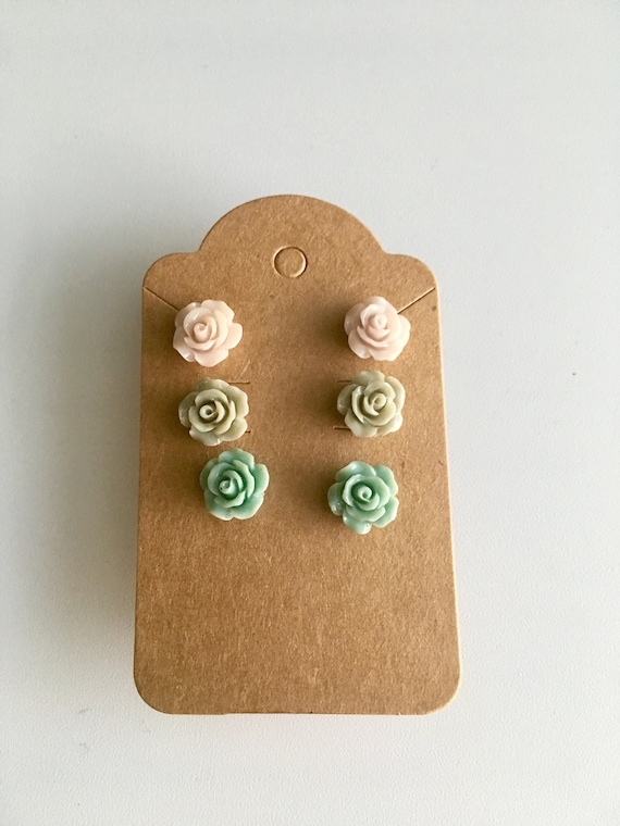 Rose Earrings, Flower Earrings, Earrings for Women, Cabochon Earrings, Post Earrings, Green Rose Earrings, Beige Rose Earrings, Mint Rose