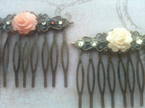 Wedding Combs, Wedding Accessories, Hair Combs, Rose Cabochon Hair, Swarovski Crystal Combs