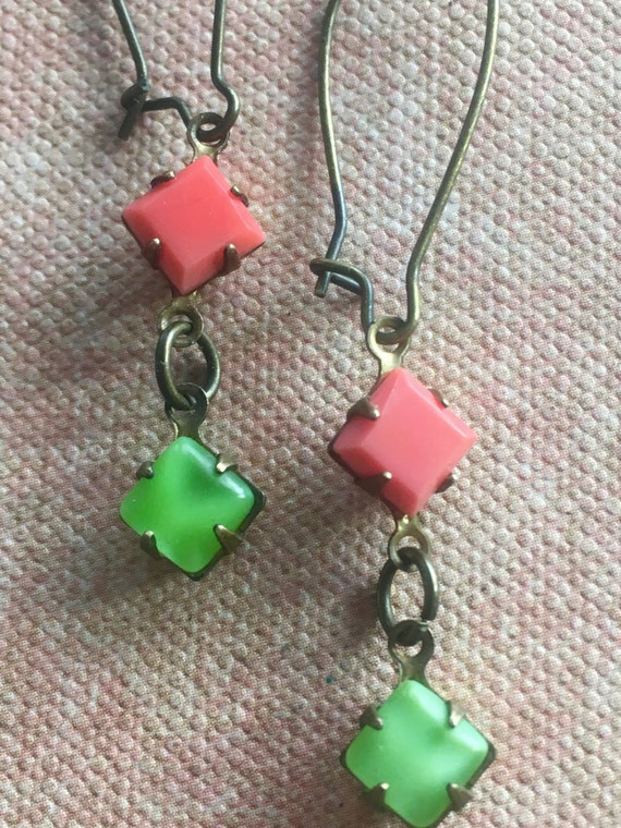 Art Deco Earrings, Green & Orange Earrings, Dangle and Drop Earrings, Earrings for Women
