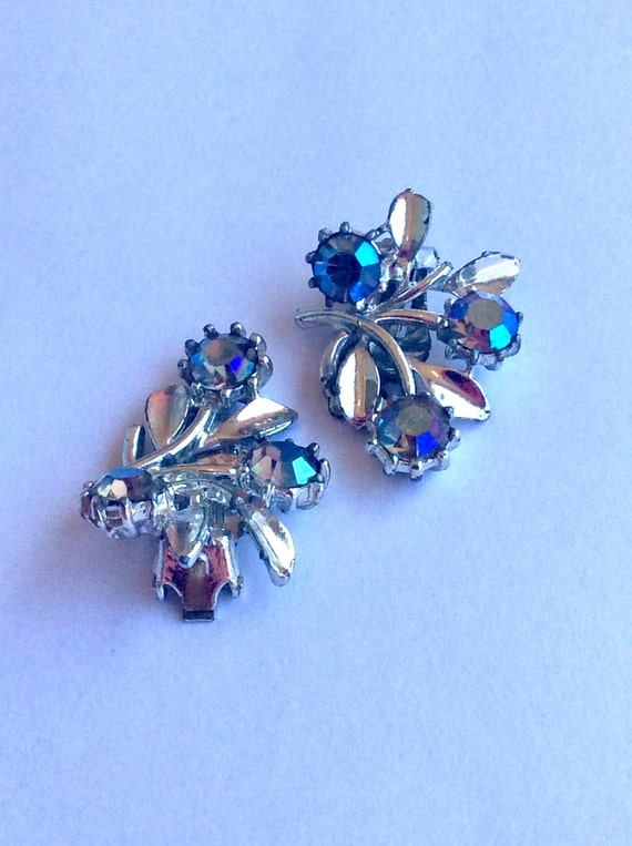 Jewelry, Clip On Vintage Earring, Earrings for Women, Vintage Swarovski Earrings, Antique Earring, Aurora Bourealis, Vintage Wedding Earring