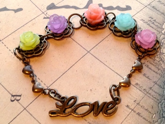 Childrens Rose Bracelet Multicolor Flower Cabochon Love Bracelet
