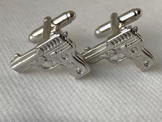 Handmade Silver Hand Gun Cufflinks, Gifts for Men