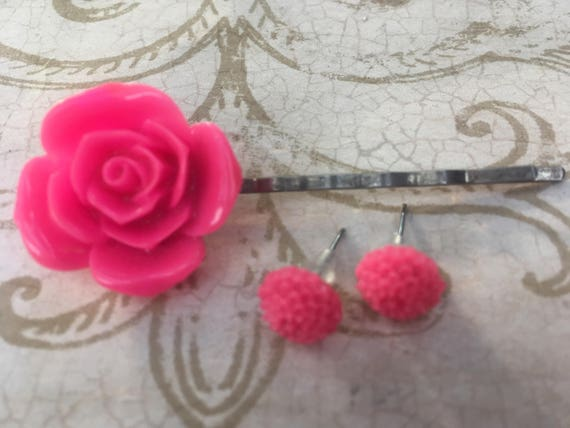 Bobby Pins, Hair Pins, Rose Earrings, Cabochon Earrings, Earrings for Women, Flower Bobby Pins, Flower Hair Clips, Rose Bobby Pin, Hair FOB