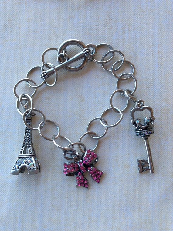Jewelry, Bracelet for Girls, Charm Bracelet, Paris Charm, Bow Charm, Key Charm, Childrens Bracelet, Girls Silver Chain Link Bracelet