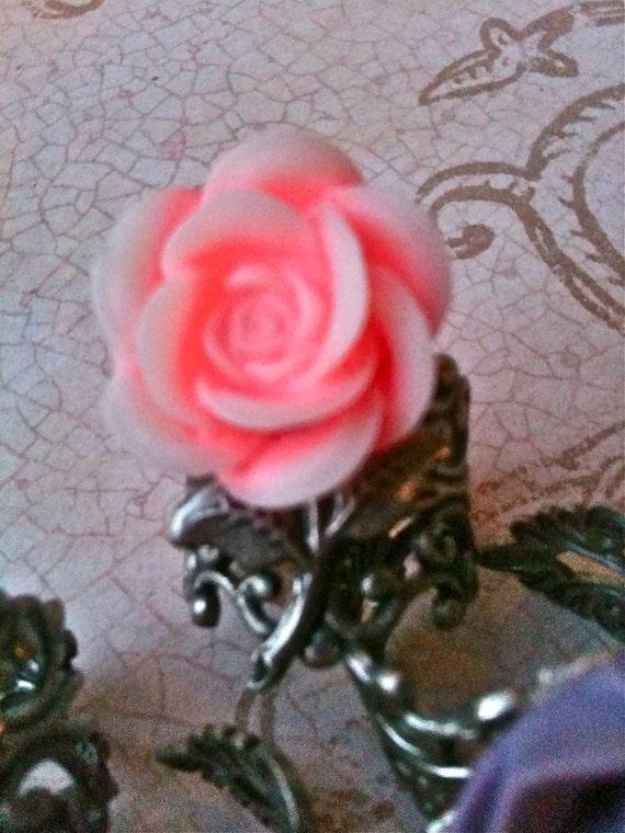 Rings for Women, Pink Rose, Ring, Adjustable Ring, Pink Rose Cabochon, Silver Ring, Flower Ring, Rings, Womens Rings
