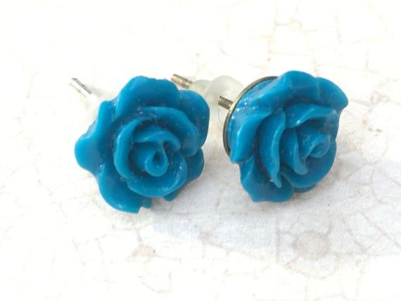Blue Rose Earrings, Flower Earrings, Cabochon Earrings, Post Earrings, Vintage Style Earrings, Romantic Earrings