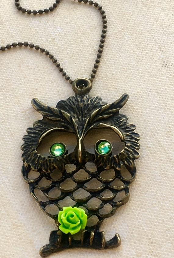 Metal Owl Pendant Necklace, Necklace for Women, Unique Necklace, Swarovski Crystals, Pendant Necklace