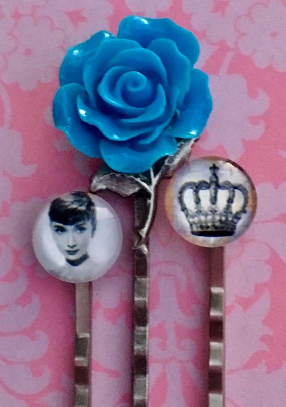 Bobby Pins, Hair Pins, Hair Clips, Hair Barrettes, Flower Hair Clips, Rose Bobby Pin