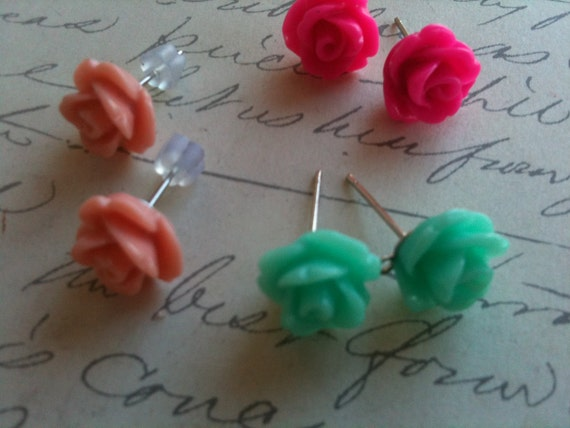 Childrens Jewelry Earrings Rose Flower Cabochon Post High Quality Cabochons