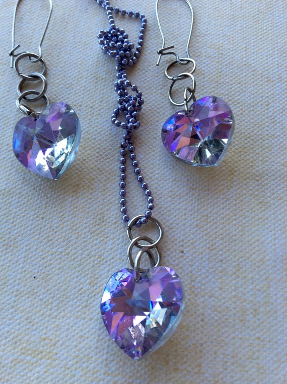 Jewelry Authentic Vintage Swarovski Necklace and Earring Set Lavender Crystal Old Hollywood Glam