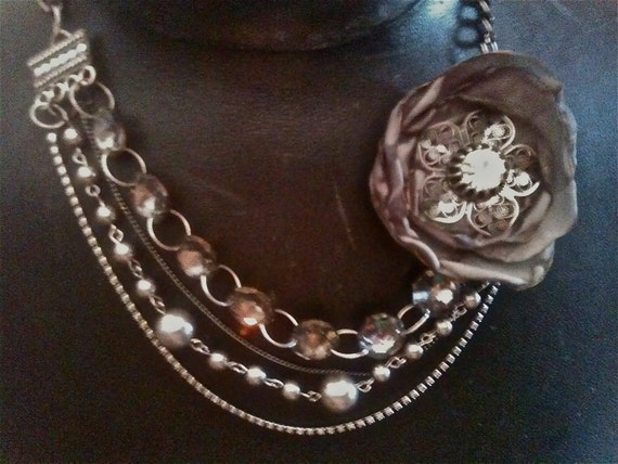 Jewelry Necklaces, Fabric Flower Necklace, Victorian Necklace, Wedding Necklace, Steampunk Necklace, Gray Flower Necklace, Pendant Necklace