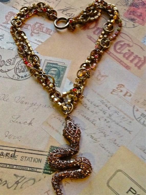 Jewelry Necklace, Vintage Swarovski Necklace, Swarovski Chain Necklace, Snake Necklace, Unique Necklace, Pendant Necklace
