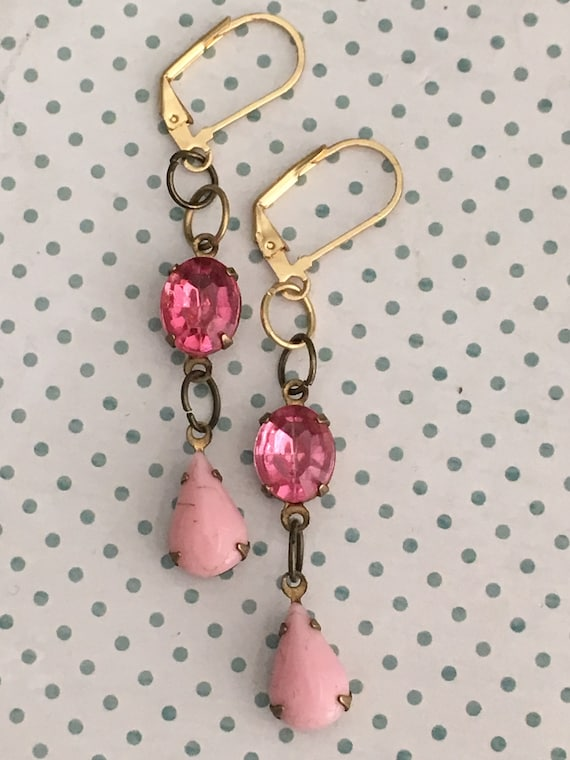 Dangle and Drop Earring, Swarovski Earrings for Women, Vintage Earrings, Antique Jewelry, Pink Crystal Earrings, Crystal Earrings, Vintage