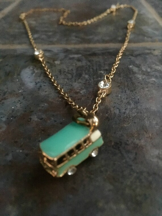 Jewelry, Necklace, VW Bus, Volkswagen Necklace, 60's Necklace, Pendant Necklace, Retro Jewelry, Jewelry, Blue Charm Necklace