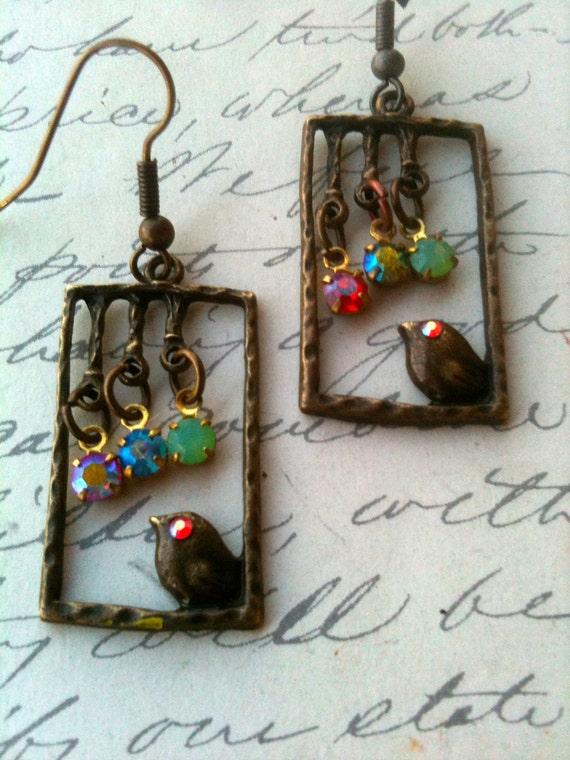 Bird Earrings, Vintage Earrings, Swarovski Earrings, Crystal Earrings, Antique Earrings, Vintage Earrings, Earrings for Women