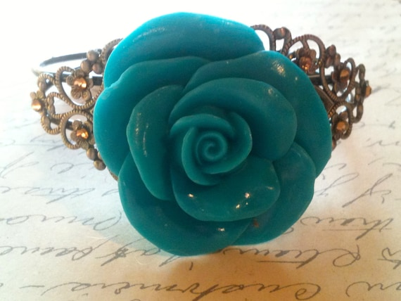 Jewelry Bracelet Cuff Turquoise Bangle Bracelet- Vintage and Steampunk Inspired