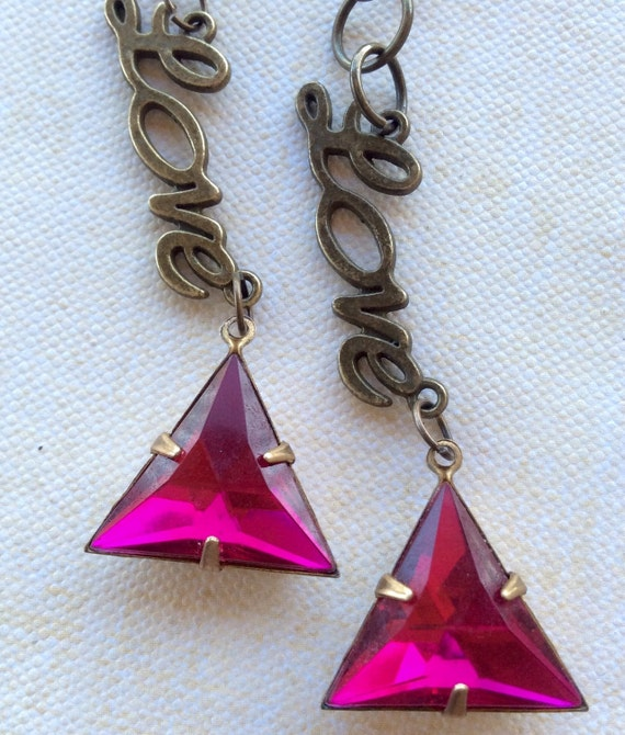 Jewelry, Earrings, Vintage Earrings, Swarovski Earrings, Pink Crystal Earrings, Art Deco Earrings