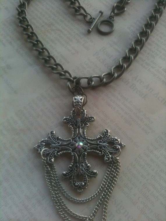 Jewelry, Necklace For Women, Metal Handmade Steampunk Romantic Religious Silver Cross Necklace