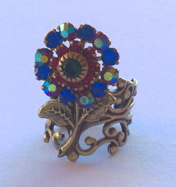 Swarovski Rings, Vintage Rings, Unique Rings, Crystal Rings, Flower Rings, Ring, Handmade Ring
