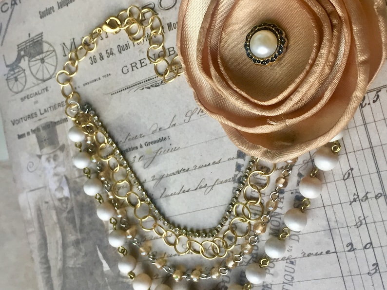 Fabric Flower Necklace for Women Vintage Style Necklace Multistrand Necklace Wedding Necklace Vintage Necklace
