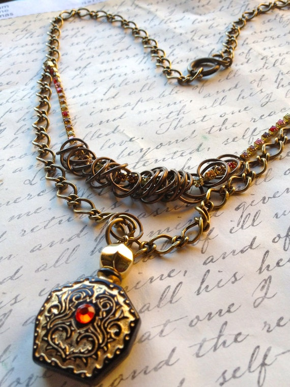 Jewelry Necklace Steampunk Perfume Bottle Necklace Authentic Vintage Swarovski Chain,