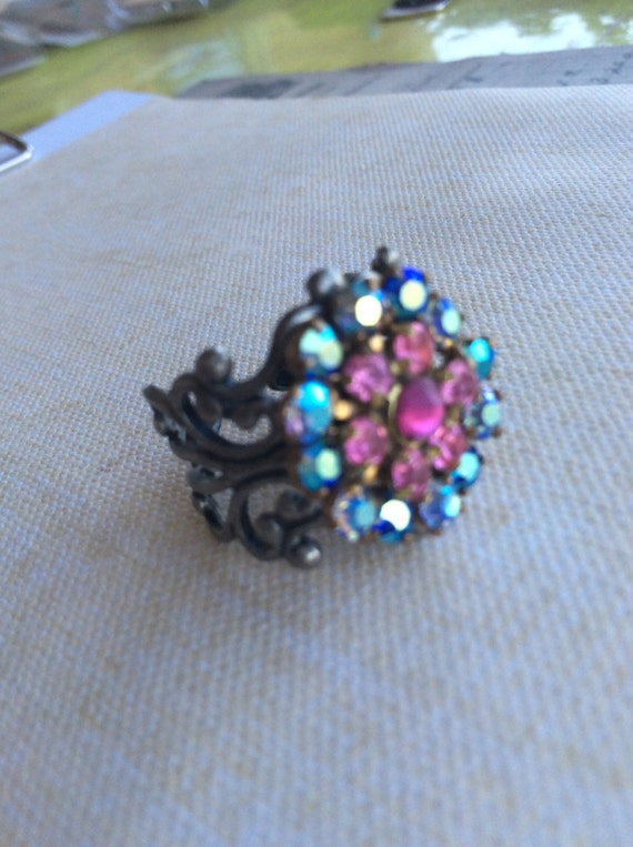 Adjustable Rings, Rings For Women, Swarovski Crystal Ring, Pink Flower Ring